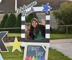 Catholic school principal in fun photo frame on first day of in-person school amid pandemic